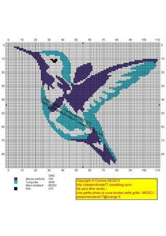 oiseau - bird - oiseau mouche - Point de croix - cross stitch - Blog : http://broderiemimie44.canalblog.com/