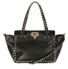 VALENTINO  Black Mini Rockstud Nappa Leather Top Handle