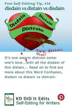 A Word Confusion post for self-editing writers who may disdain or distain the distrain placed upon their writing.