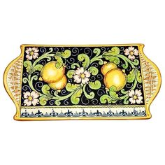 CERAMICHE D'ARTE PARRINI - Italian Ceramic Art Cheese Tray Plate Appetizer Centerpieces Decorative Lemons Pottery Hand Painted Made in ITALY Tuscan. ( Notes : we need 10 days to make this item)--Ceramic Tray for serving cheese, can be used as a trivet , and can be a beautiful small centerpieces. Decorations Blue Lemon: Branches of lemons on blue background, framed by curls blue, board yellow / orange. Net weight Kg.1,400 Dimensions 13,77 inch x 7,28 inch --All our products are lead-free…