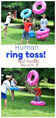 Human Ring Toss Game - A Fun and Easy Summer Outdoor Game for Kids and Adults - DIY game for the backyard or even indoors - Would also make a great Minute To Win It game! Spiel Human Ring Toss Game - A Fun and Easy Summer Outdoor Game for Kids and Adults Outdoor Games For Kids, Picnic Games For Kids, Outside Games For Kids, Outside Party Games, Outdoor Activities, Outdoor Party Games, Water Party Games, Family Picnic Games, Outdoor Parties