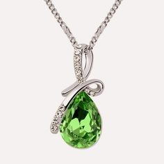 Necklace Pendant Water Drop Crystal from Swarovski Elements White Gold Plated Women