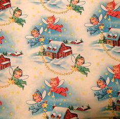 Vintage Christmas Wrapping Paper NOS Little Fairies Aloft - Gift wrap, Christmas, Vintage, other - Vintage Christmas Wrapping Paper, Vintage Christmas Images, Christmas Gift Wrapping, Modern Christmas, Retro Christmas, Vintage Holiday, Vintage Paper, Vintage Images, Christmas Fairy