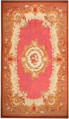 Antique Aubusson French Rug 43636