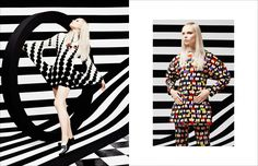 Photography duo JUCO dive into optical art for this Schön! online editorial. Throwing senses and perception into disarray, stylists JAK fashions illusions on model Aspen Gerasimova.