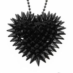 """Pavèd & Spiked Heart Necklace - """"Black Magic"""""""