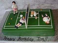 Stacey's Sweet Shop - Truly Custom Cakery, LLC: Tennis Court Birthday Cake - For the not so athletically inclined 70th Birthday Cake, Adult Birthday Cakes, Boy Birthday, Happy Birthday, Birthday Ideas, Tennis Cake, Tennis Party, Sour Cream Cake, Beautiful Cupcakes