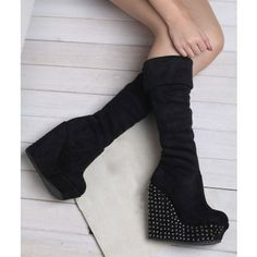 Knee High Diamond Beaded High Heeled Platform Women's Boots