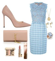 blue and beige by Diva of Cake on Polyvore featuring polyvore moda style Jimmy Choo Yves Saint Laurent Diamondere Pamela Love Michael Kors Ermanno Scervino fashion clothing