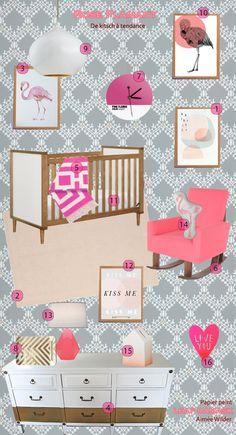 DIGITAL Monogram Name Wall Art, Flamingo Girl Nursery Print ...