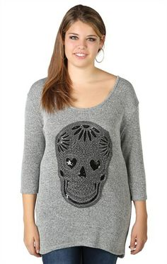 Plus Size Three Quarter Sleeve Sweater with Sequin Skull Patch