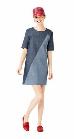 chambray color block dress