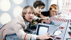 The Fifth Doctor, Tegan and Turlough in the TARDIS