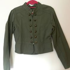 """✂️SALE ✂️ Army Green Blazer Love this army green blazer with gold button details and a zip closure. Great condition. Size medium. Made by """"Prototype"""" Prototype  Jackets & Coats Utility Jackets"""