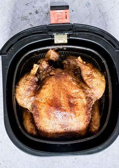 Air Fryer Whole Chicken is perfect juicy rotisserie style chicken with crispy skin ready in under 1 hr! Great for meal prep.