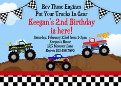 Latest Free Printable Monster Truck Birthday Party Invitations Ideas For Additional Online Party Invitations Monster Birthday Invitations, Free Printable Birthday Invitations, Monster Truck Birthday, Monster Trucks, Monster Jam, 2nd Birthday, Birthday Ideas, Birthday Nails, Birthday Parties