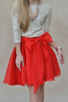 Red bow & sequins
