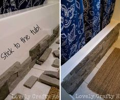 Use faux stone to hide your ugly tubs