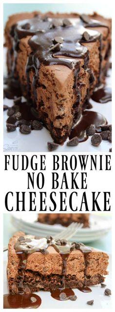 FUDGE BROWNIE NO-BAKE CHEESECAKE | A Dash of Sanity