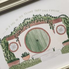 In a hole in the ground there lived a hobbit...    + Watercolor art print  + Printed on recycled card stock  + Choose size 5 x 7 or 8 x 10  + Made in Oregon, U. S. A.    © Fox & Bear Paper Co   all rights reserved