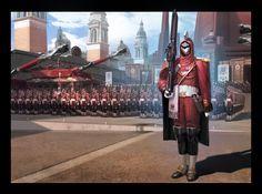Kemp Remillard - This image makes me think of the regency. Space Fantasy, Fantasy City, Fantasy Armor, Sci Fi Fantasy, Futuristic Armour, Futuristic Art, Star Wars Painting, Spaceship Art, Future Soldier