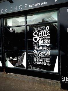 [Lettering] – Slick's Barbershop typography by Craig Black Window Mural, Window Decals, Window Film, Cafe Window, Window Signage, Window Stickers, Typography Tumblr, Typography Design, Stickers Vitrine