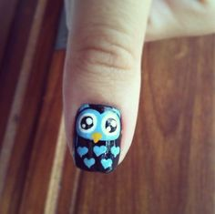 : Pretty and Polished Tart Owl Nail Art, Owl Nails, Minion Nails, Funky Nail Art, Animal Nail Art, Funky Nails, Trendy Nails, Owl Nail Designs, Tumblr Nail Art