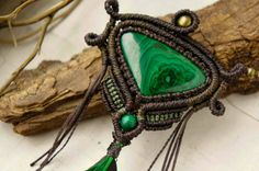 """Macrame necklace """"Godly Green"""" with malachite, brass beads and natural feather"""
