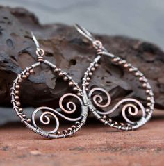 Sterling Silver and Copper Wire Wrapped Hoops by AlaskaFirefly, $30.00