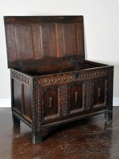 Antique French Wooden Trunk... wonder if I can make the same look with lowes wallpaper stuff..