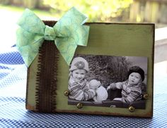 Distressed Picture Frame with Bow and by theshanksfamilytree, $15.00