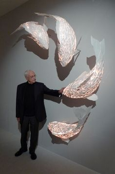 Fish Lamps, Gehry Partners LLP, world architecture news, architecture jobs. Could we find the another form with our wall? Fish Lamp, Instalation Art, String Lights Outdoor, Luminaire Design, Home And Deco, Decoration, Sculpture Art, Paper Art, Creations
