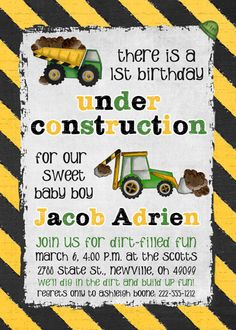 Birthday under construction invitations are just the thing for your little boy who loves dirt! Dump trucks, bulldozers and dirt surround personalized party