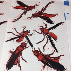 180 #wasps printed. Now who wants to help me cut them out? #tamuccprintmaking #woodcut #printmaking #borpocrispy via The Rossaissance