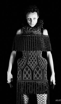 Regal Elegance - embroidered dress with structured silhouette; fashion as art // Alexander McQueen