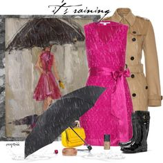 Burberry coat - Burberry rain boots - Tiffany & Co. ring - Diane Von Furstenberg dress