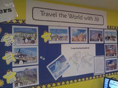 Travel the World bulletin board encourages students' ST Math progress with JiJi.  Find JiJi posters for your classroom at http://trs.stmath.com/?p=1452