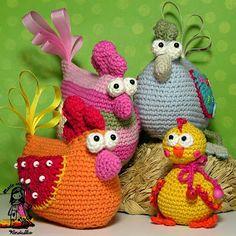 Familia gallinas ganchillo