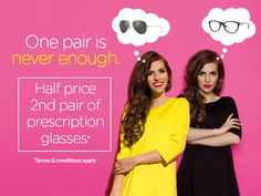 One pair of glasses just like any other accessory is never enough! Get your half price second pair of prescription glasses or prescription sunglasses from Eye Emporium. Click on the picture to read more.