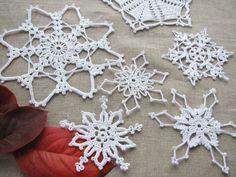 Crochet snowflakes Christmas home decors Christmas ornaments Tree decors Set of 6 Xmas decors. $18.00, via Etsy.