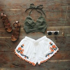 An Embroidered Floral Short