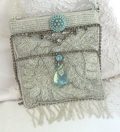 Bridal purse, Silver beaded purse, wedding bag, vintage couture with blue and clear vintage rhinestone jewelry