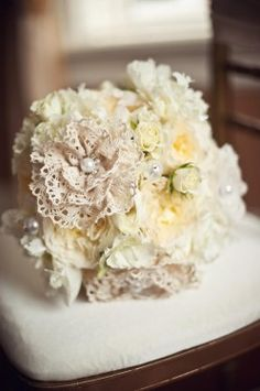 lace and pearl bouquet