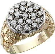 Men's Gold Nugget 1 Carat Diamond Cluster Wedding Band Mens Emerald Rings, Mens Gold Rings, Diamond Rings, Diamond Cuts, Rings For Men, Rose Gold Texture, Topaz Ring, Princess Cut Diamonds, 1 Carat