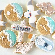 Look at that message in a bottle cookie! Summer Cookies, Fancy Cookies, Cut Out Cookies, Cute Cookies, Cupcake Cookies, Cupcakes, Bolacha Cookies, Galletas Cookies, Iced Sugar Cookies