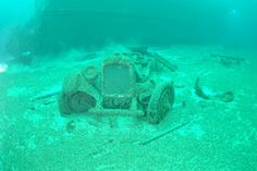 """Door County Diving. """"The Lakeland"""" sank in the 20's with a cargo full of new cars."""