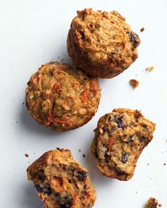 """Healthy Morning Muffins: """"Banana shares the spotlight with carrots, raisins, and oats in these hearty, low-fat muffins."""""""