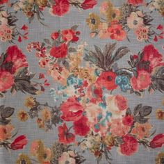 Hertex Collection: Free love. Design: Bloom Mandarin Hertex Fabrics, French Bed, French Fabric, French Home Decor, Red Fabric, Fabric Swatches, French Country, Red And Blue, Upholstery