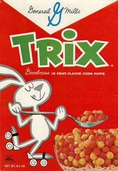 wordsandeggs:    Vintage Trix cereal box, via Uppercase.      1961 Trix Cereal Box