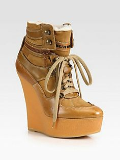 Burberry Lace-Up Leather, Suede and Shearling Lace-Up Ankle Boots